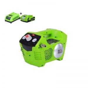 Greenworks G24ACK2 Accu Compressor | 24 Volt Luchtcompressor Met 2 Liter Tank Met 2Ah Accu En Lader