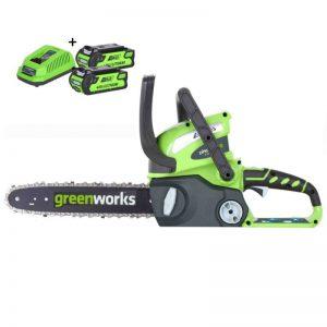 Greenworks G40CS30K2X Draadloze Kettingzaag Met 2x2Ah Accu En Lader | 40 Volt | 30cm