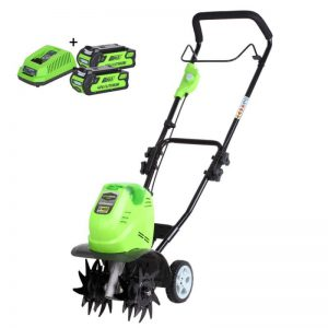 Greenworks G40TLK2X 40V Accu Tuinfrees | Cultivator 13cm Met 2x 2Ah Accu En Lader