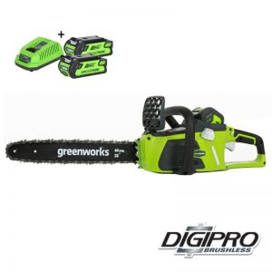 Greenworks GD40CS40K2X Draadloze Kettingzaag Met 2Ah Accu's En Lader | 40 Volt Li-Ion | 40cm